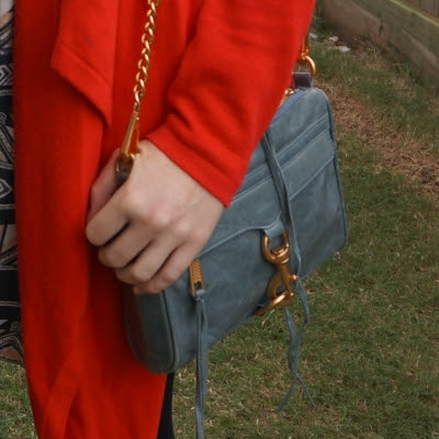 red cardigan with Rebecca Minkoff 2012 sky grey mini MAC bag | awayfromtheblue