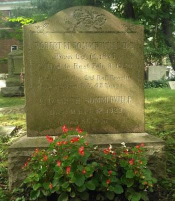 Photograph of gravemaker of Robert and Elizabeth Sommerville, Bronxville Cemetery, Bronxville, New York, USA