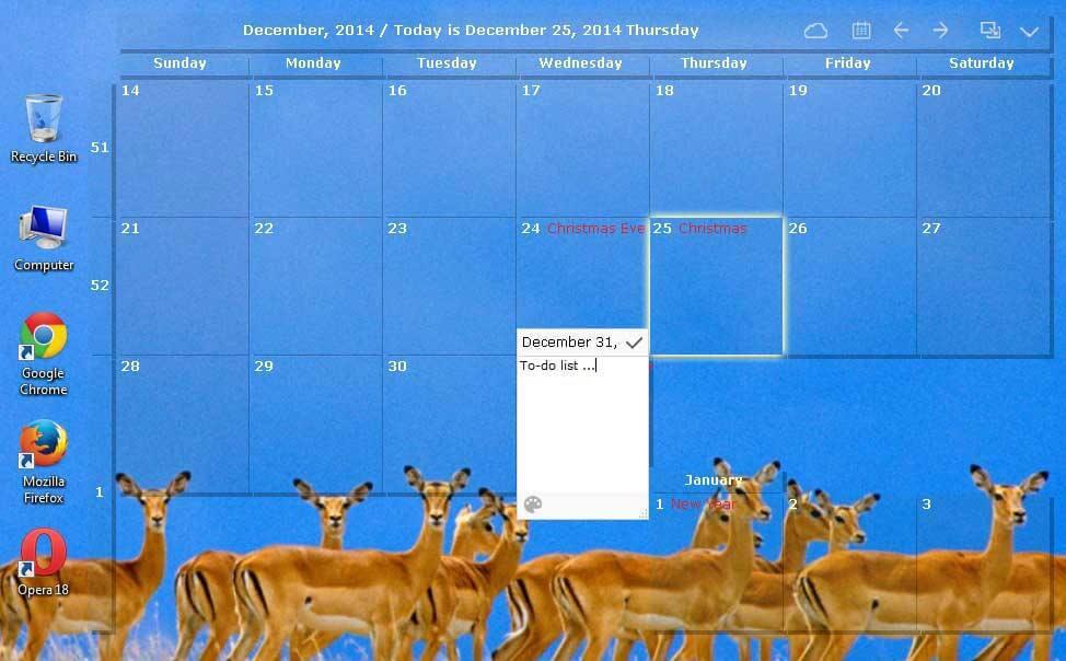 Desktop kalender setup
