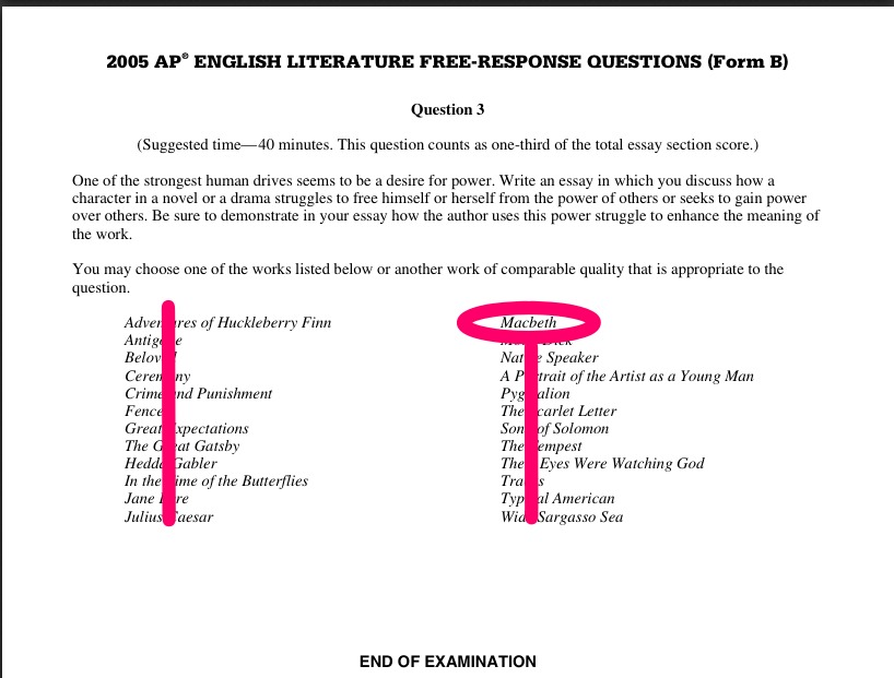 Essay Questions And Answers On Macbeth - Sample questions