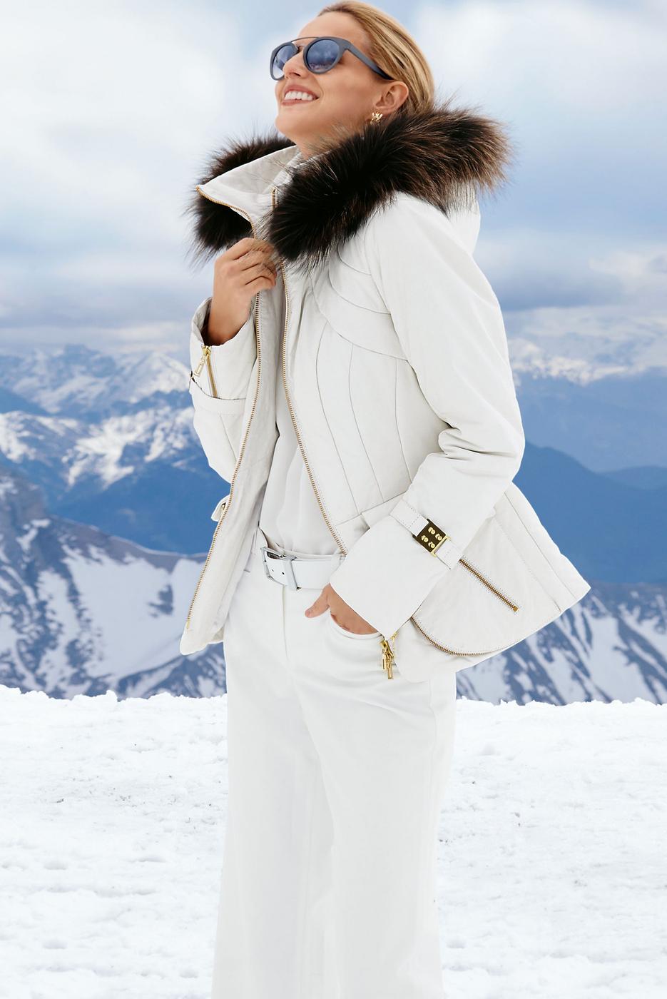 Madeleine Wool White Leather Jacket