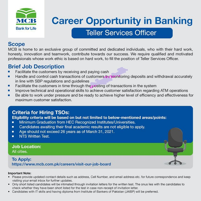 MCB Bank Jobs 2021 for Teller Services Officer in All Over Pakistan Application