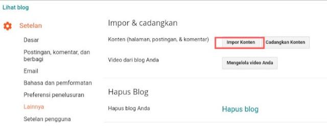 Proses memindahkan konten blog