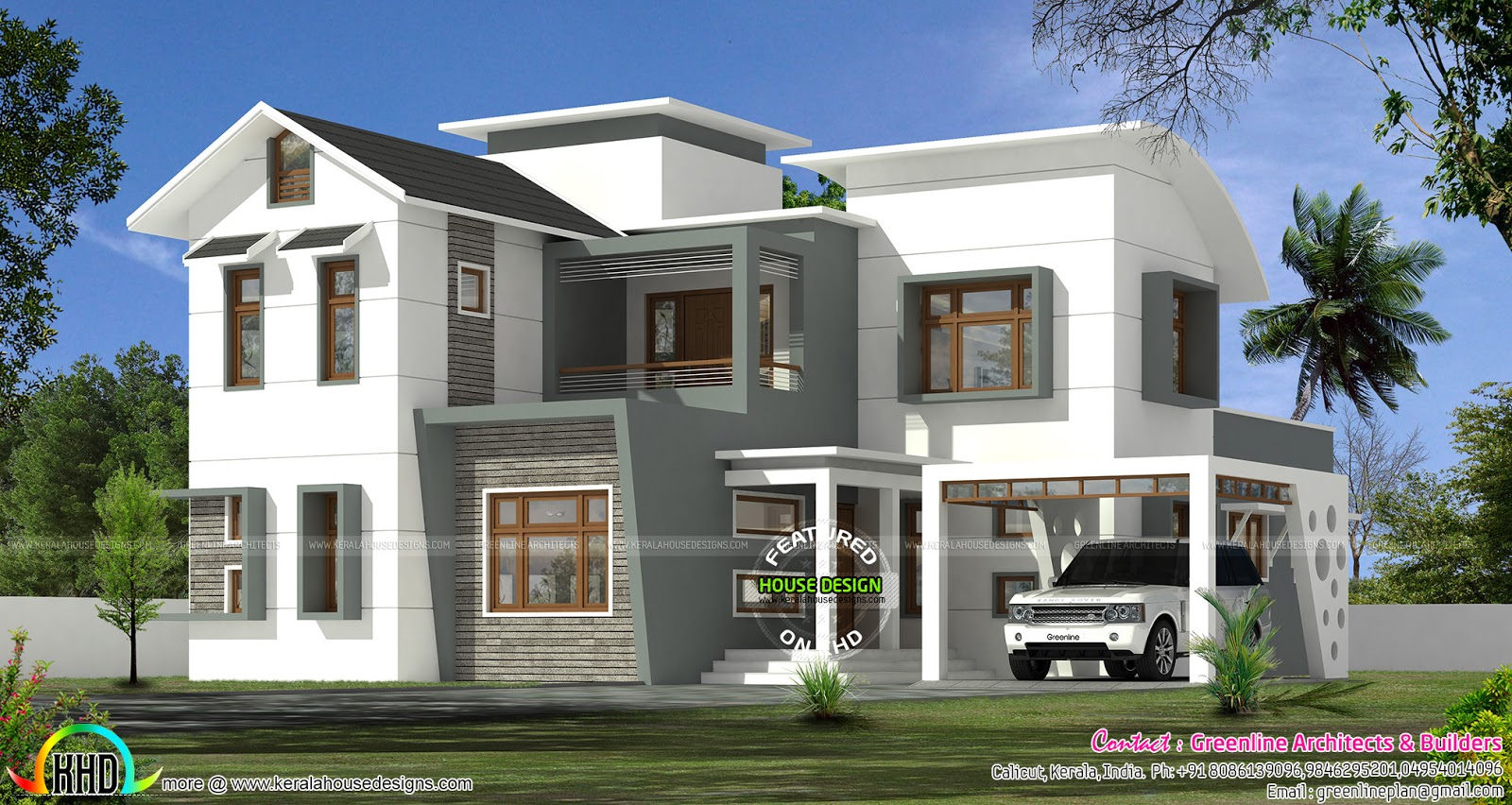 2733 square feet curved roof mix house kerala home for Curved roof house plans