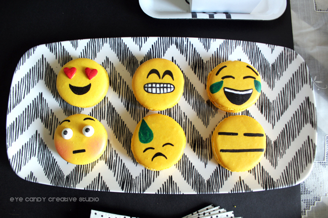 emoji macarons, black & white decor, teen birthday, emoji birthday