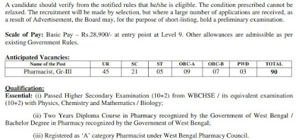 West Bengal Health Recruitment Board -Pharmacist Grade III
