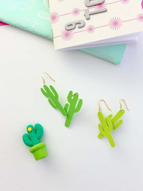 How to make cactus earrings DIY.
