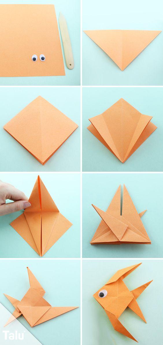 Kostenlose Anleitung - Origami Fisch falten fish