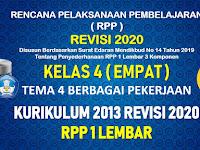 RPP 1 Lembar Kelas 4 Tema 4 SD/MI Kurikulum 2013 Revisi 2020 Tahun Pelajaran 2020 - 2021