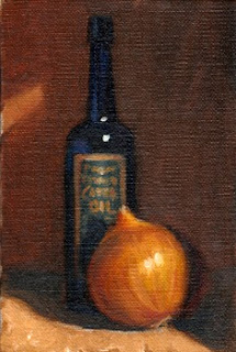 Oil painting of a brown onion in front of a blue castor oil bottle with a label.