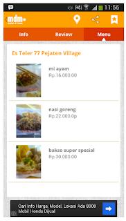 menu makan tempat makan android