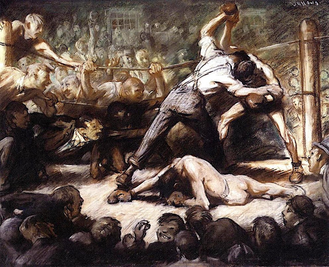 George Wesley Bellows (1882-1925) The Knockout (c. 1907) Pastel and india ink on paper, american painters,