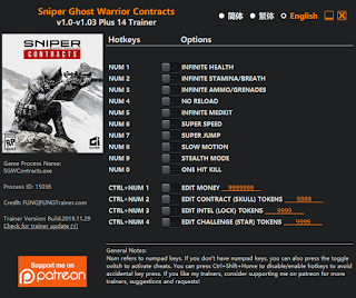 Sniper: Ghost Warrior Contracts  Trainer