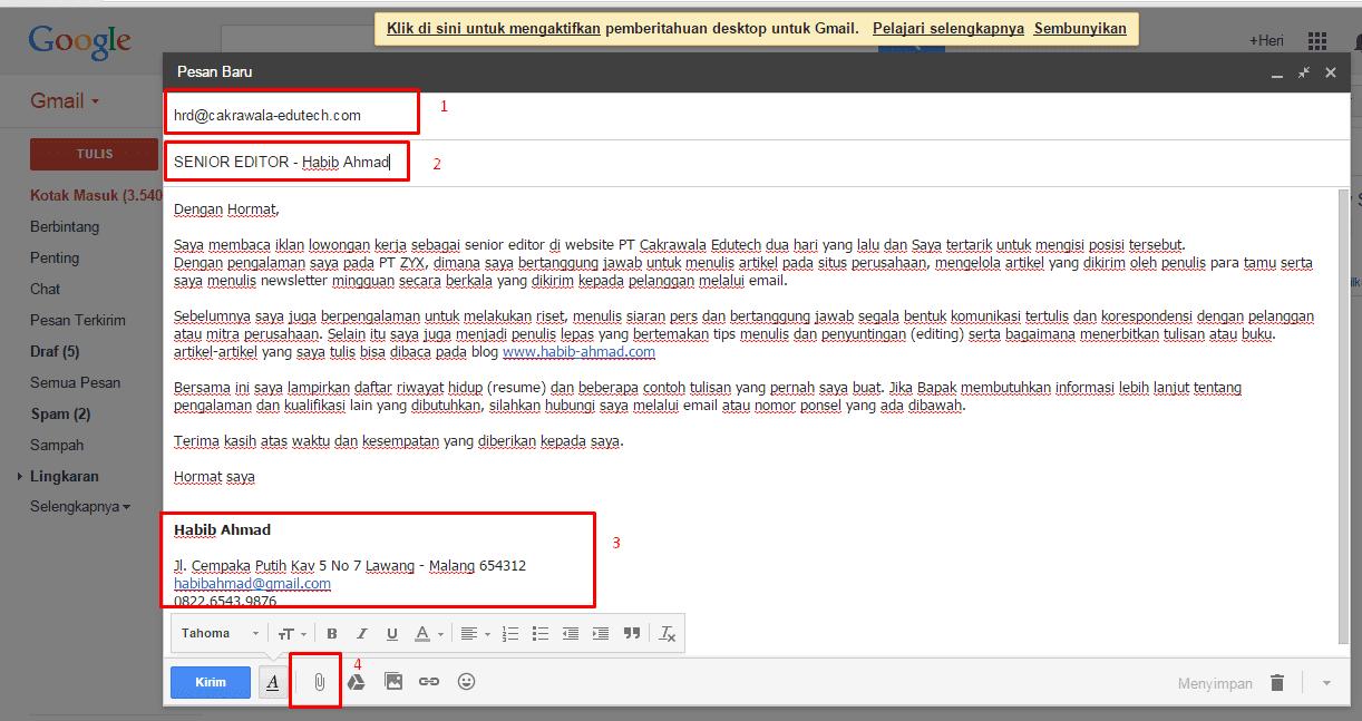 Contoh Surat Lamaran Kerja Resmi Via Email