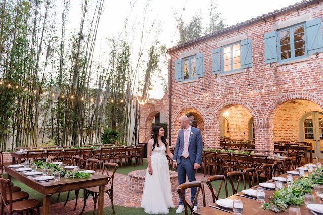 bride and groom at wedding reception location