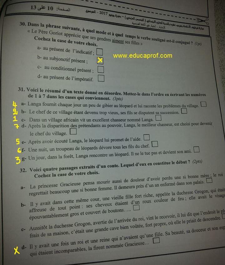 مواضيع وعناصر الاجابة لمادة اللغة الفرنسية للسلك الابتدائي