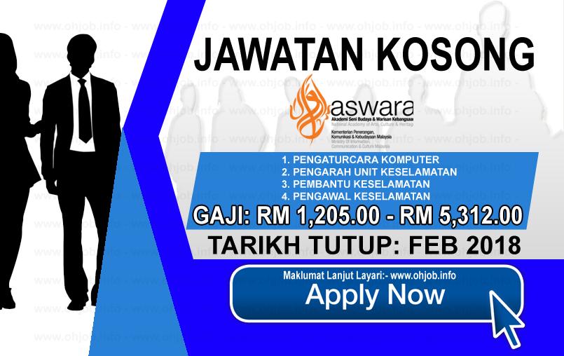 Jawatan Kerja Kosong Akademi Seni Budaya Dan Warisan Kebangsaan - ASWARA logo www.ohjob.info februari 2018