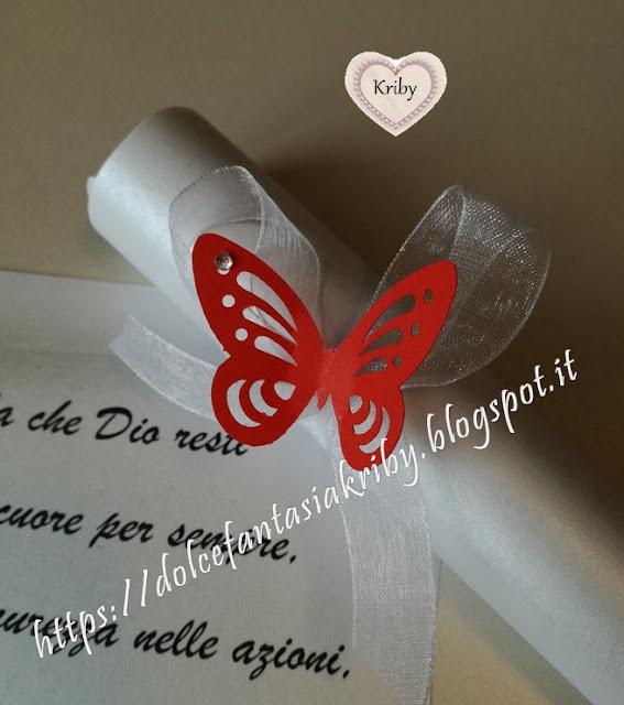 decorazione farfalla rossa e brillantino strass