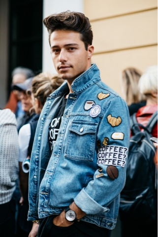 Look masculino com Patches jaqueta masculina
