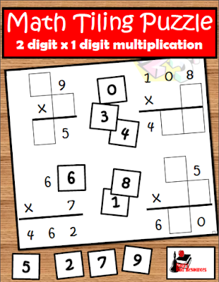 This free multiplication tiling puzzle makes a great math extension activity for early finishers - free download from Raki's Rad Resources.