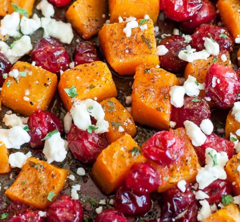HONEY ROASTED BUTTERNUT SQUASH WITH CRANBERRIES AND FETA #vegetarian #holidayrecipes