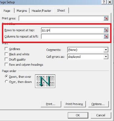 اكسل   مهارات الطباعة فى الاكسل طباعة الصفوف والاعمدة فى كل الصفحاتExcel Skills Print  hearder of all Page