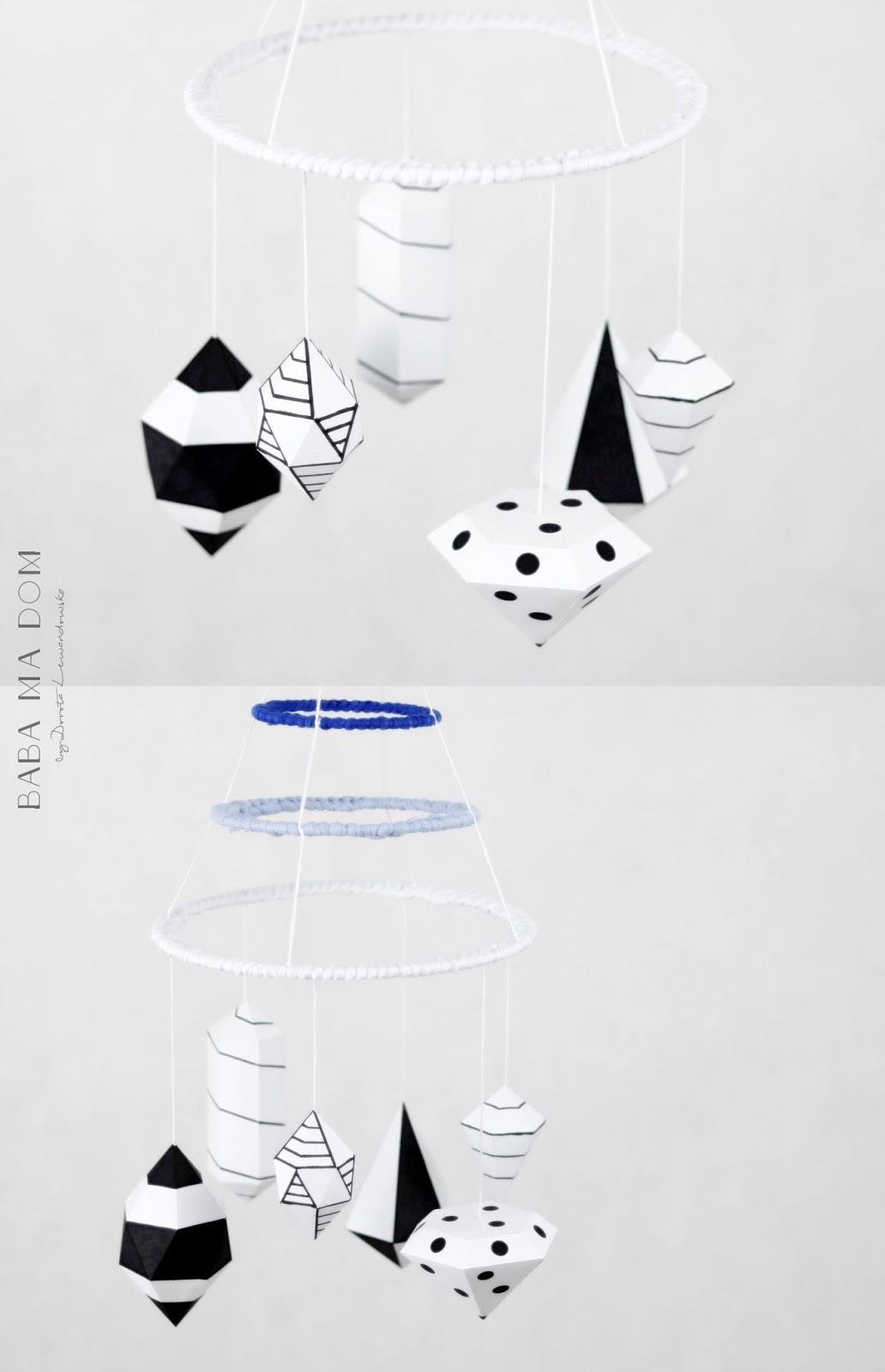 DIY, zrób to sam, doityourself, papier, ozdoba, b&w, geometryczne, niebieski, dzieci, babamadom