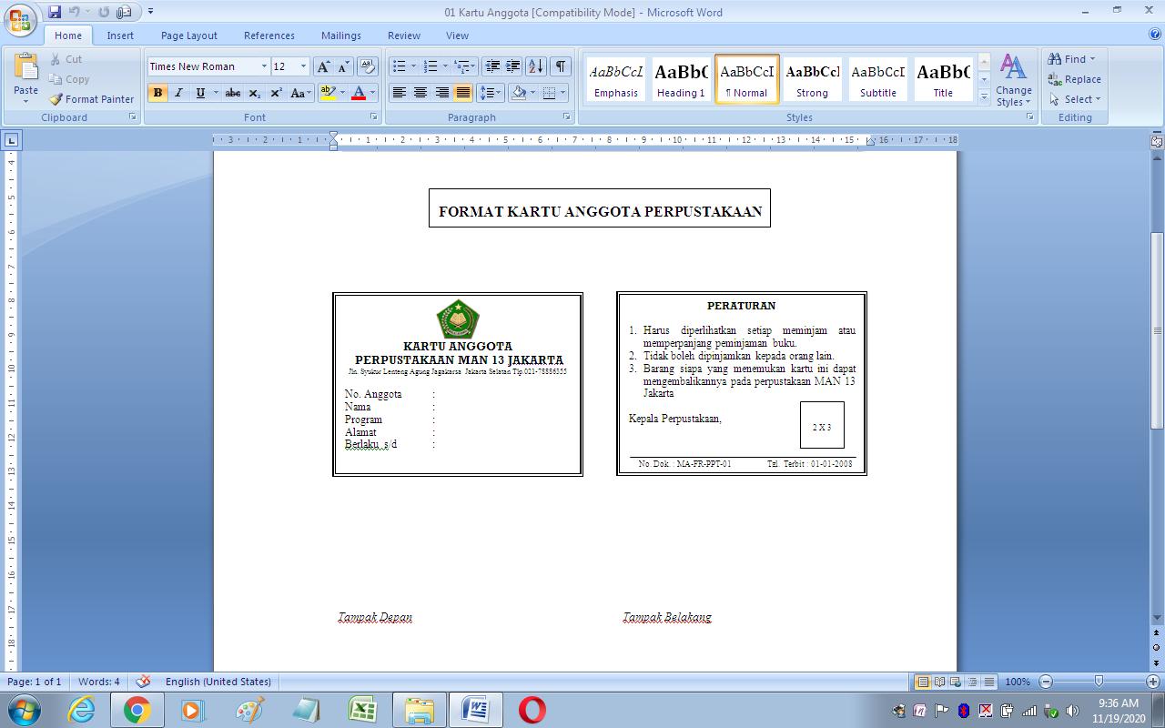 Format Kartu Anggota Perpustakaan Sekolah Antapedia Com