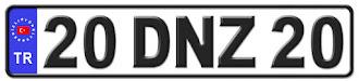 Denizli il isminin kısaltma harflerinden oluşan 20 DNZ 20 kodlu Denizli plaka örneği