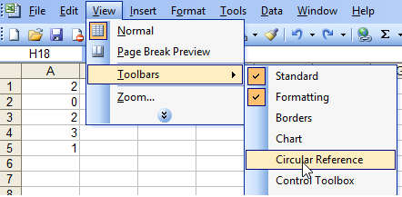 Toolbar Circular Reference dalam Escel 2003