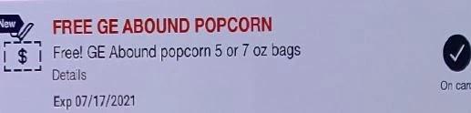 FREE Gold Emblem Abound Popcorn 5-7 oz CVS crt store Coupon (Select CVS Couponers)