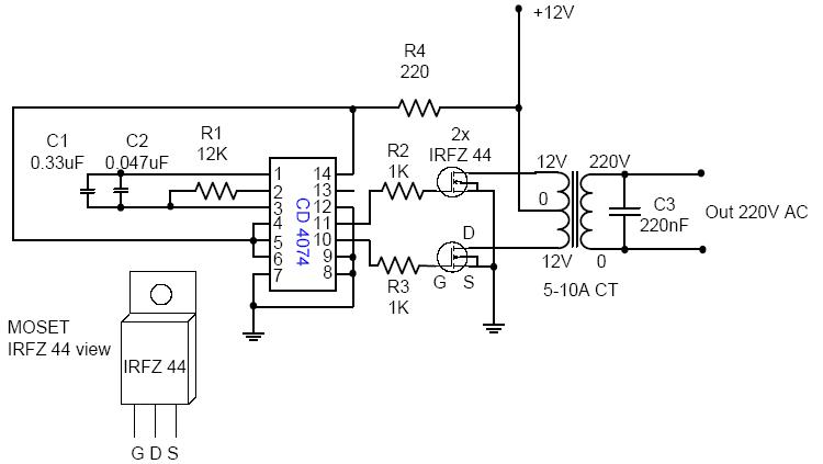 DC  AC Voltage Inverter 12v for 110  220V Circuit