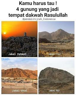 4 gunung saksi sejarah perjalan dakwah Rasulullah