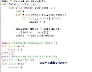 kode selection sort python
