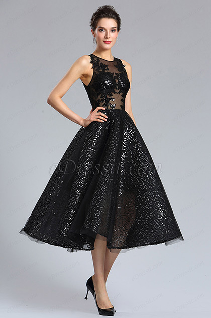 black sequins cocktail dress