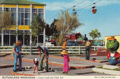 Butlinland Minehead. Crazy Golf and Chair Lift. John Hinde Studios. 24 May 1976