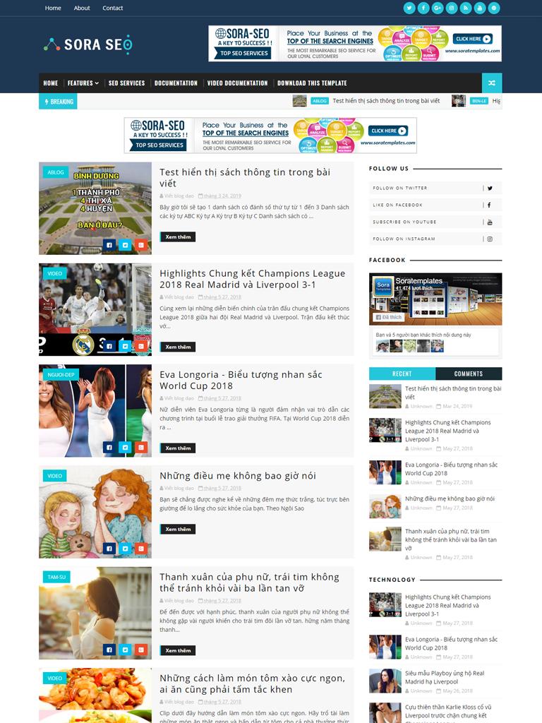 Template Blogspot Sora Seo Template Premium - Ảnh 1
