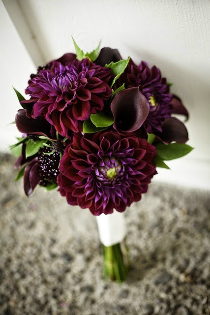 purple dahlia bridal bouquet