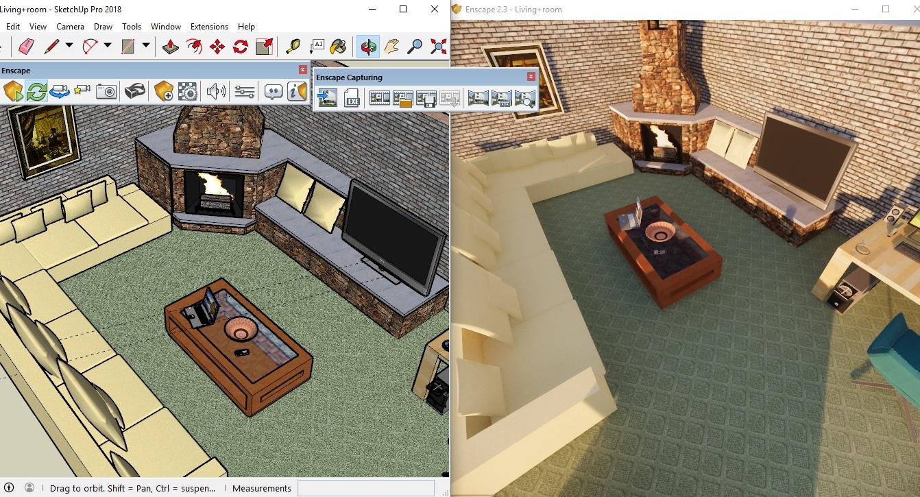 Sketchup Living amp kitchen room 3D model Price render rendering