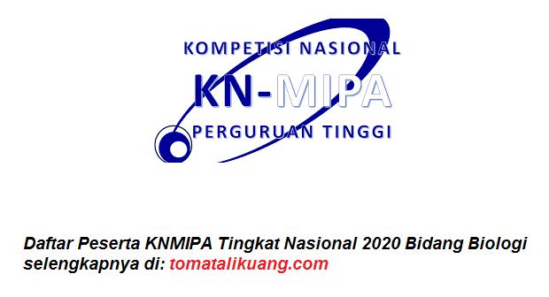Daftar Peserta KNMIPA Tingkat Nasional 2020 Bidang Biologi tomatalikuang.com