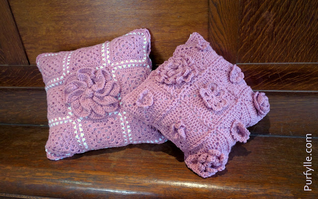 crochet motif cushions