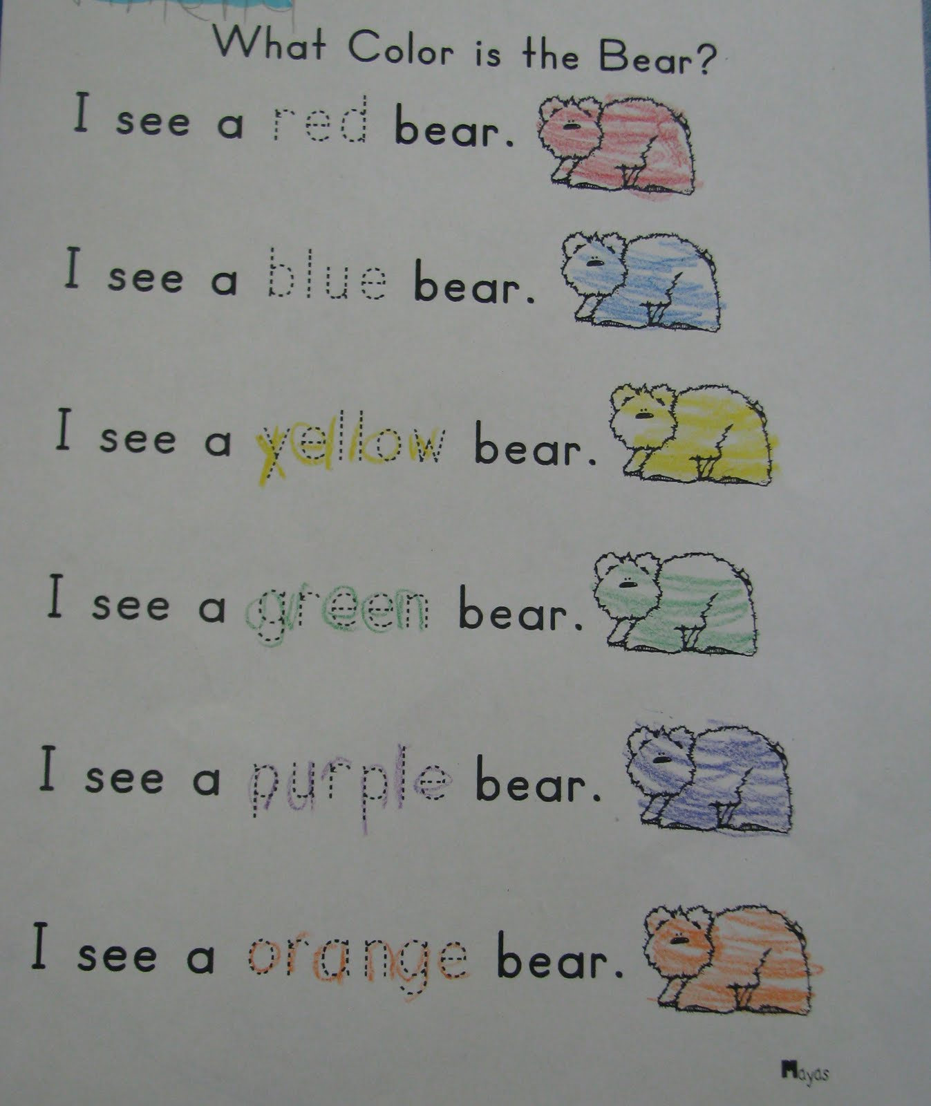 Mrs Mayas Kindergarten Brown Bear Part Iii