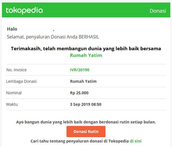 Invoice Email Donasi Berhasil