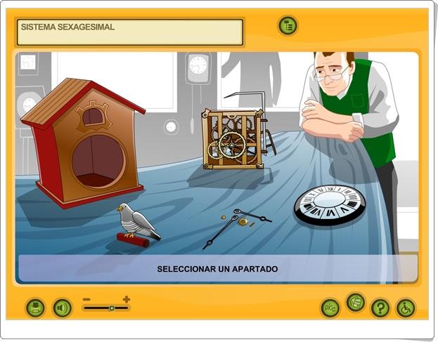 """Sistema sexagesimal"" (Aplicación interactiva de Matemáticas de Primaria)"