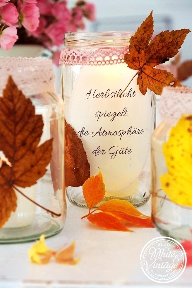 Herbstliche Windlichter aus Marmeladengläsern selber machen