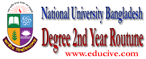 The national University Bangladesh NU Degree 2nd year exam routine available hete