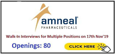 Amneal Pharmaceuticals - Walk-in interview for Multiple positions on 17th November, 2019