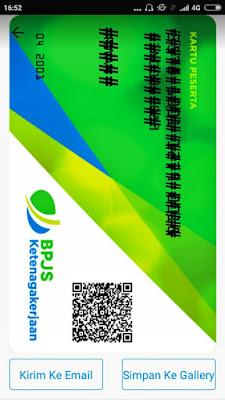 Foto kartu digital BPJS Ketenagakerjaan di aplikasi BPJSTKU