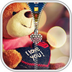 Teddy Bear Zipper Lock Screen logo apk