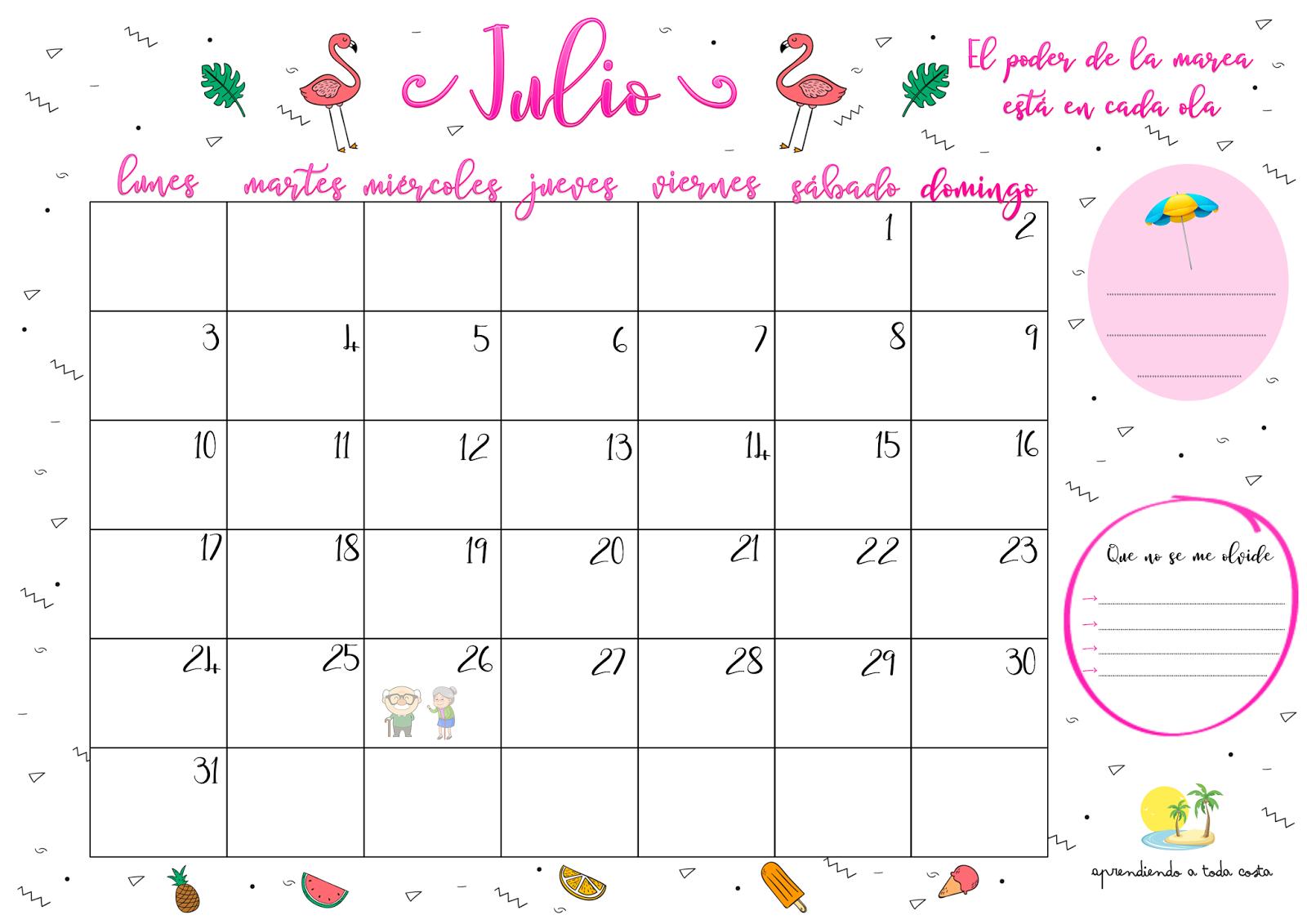 Imagen Calendario de Julio 2